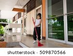 the good girl is cleaning the... | Shutterstock . vector #509870566