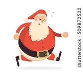 santa claus running hard and...   Shutterstock .eps vector #509872522