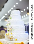 white wedding cake with flowers ... | Shutterstock . vector #509924656