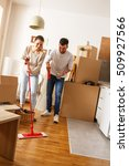young couple cleaning and... | Shutterstock . vector #509927566