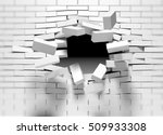 destruction of a brick wall. 3d ... | Shutterstock . vector #509933308