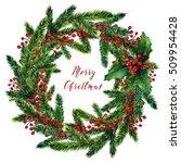 merry christmas wreath  fir... | Shutterstock . vector #509954428
