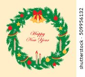 new year greeting card in flat...   Shutterstock .eps vector #509956132