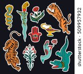set of indian patches elements. ... | Shutterstock .eps vector #509957932