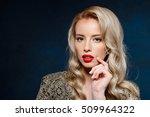 beautiful blonde girl with... | Shutterstock . vector #509964322