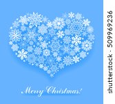 christmas blue card with heart... | Shutterstock .eps vector #509969236