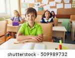 happy children sitting in class ... | Shutterstock . vector #509989732