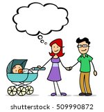 happy cartoon family with baby... | Shutterstock . vector #509990872
