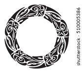 polynesian tattoo initials.... | Shutterstock .eps vector #510005386
