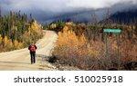 Nahanny Range Road, Yukon - walking along the road near North Moose Creek in contrasty light