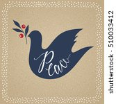 peace dove with branch. merry... | Shutterstock .eps vector #510033412