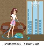 girl with wireless vacuum... | Shutterstock .eps vector #510049105