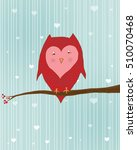Cute Valentine Owl On Branch
