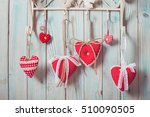 red hearts hanging on the hooks.... | Shutterstock . vector #510090505