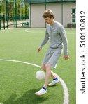 young man making football... | Shutterstock . vector #510110812