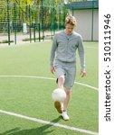 young man making football... | Shutterstock . vector #510111946