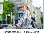 young woman walking and resting ... | Shutterstock . vector #510122845