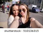 two girlfriends are having fun... | Shutterstock . vector #510136315