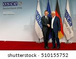 Small photo of POTSDAM, GERMANY. SEPTEMBER 1ST, 2016: Federal Foreign Minister Dr Frank-Walter Steinmeier welcomes Edgars Rinkevics, Minister of Foreign Affairs of Republic of Latvia