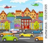 hand drawn cartoon of street in ... | Shutterstock . vector #510159205