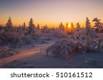 winter landscape with forest... | Shutterstock . vector #510161512