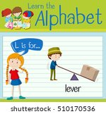 flashcard letter l is for lever ... | Shutterstock .eps vector #510170536