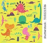 cute dinosaurs. vector... | Shutterstock .eps vector #510221536