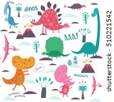 cute dinosaurs. vector... | Shutterstock .eps vector #510221542