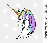 head of a white unicorn with... | Shutterstock .eps vector #510232366