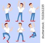 a gay man jumping  rejoicing...   Shutterstock .eps vector #510261235
