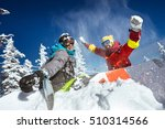 happy couple of snowboarders... | Shutterstock . vector #510314566