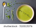 pureed pea soup with spices ... | Shutterstock . vector #510315376