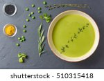 pureed pea soup with spices ... | Shutterstock . vector #510315418