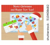 christmas card. santa claus is... | Shutterstock .eps vector #510408682