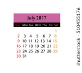 colorful calendar 2017 on white ... | Shutterstock . vector #510455176