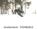 man on snowmobile. recreation...   Shutterstock . vector #510482812