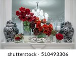 Red Flowers Amaryllis In Glass...