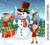 merry christmas card.... | Shutterstock .eps vector #510499786