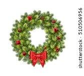 christmas wreath with balls.... | Shutterstock .eps vector #510506956