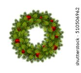 christmas wreath with balls.... | Shutterstock .eps vector #510506962