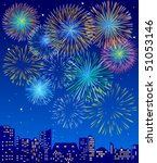 fireworks over a city | Shutterstock .eps vector #51053146
