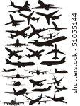 set silhouette plane | Shutterstock .eps vector #51055144