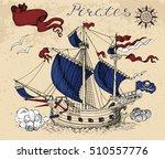 engraved graphic illustration... | Shutterstock .eps vector #510557776