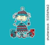 cute christmas elf vector... | Shutterstock .eps vector #510569662