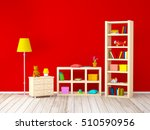 kids room with bookcases with... | Shutterstock . vector #510590956
