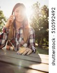 young woman on the phone using... | Shutterstock . vector #510592492