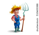cute cartoon young guy farmer... | Shutterstock .eps vector #510603388