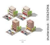 isometric town buildings with... | Shutterstock .eps vector #510624346