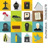 funeral icons set. flat... | Shutterstock .eps vector #510638278