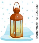 lantern standing in the snow.... | Shutterstock .eps vector #510653632